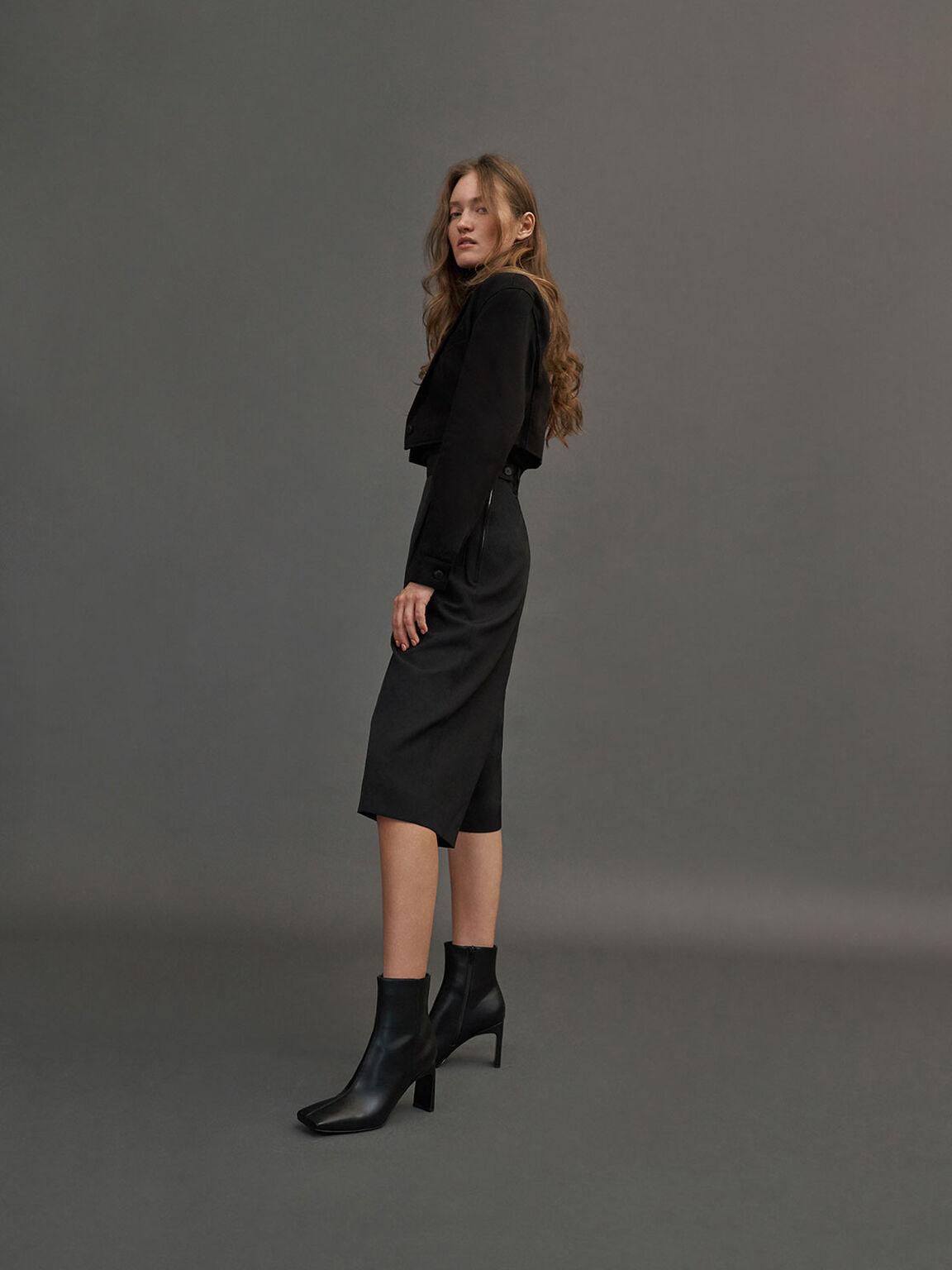 Blade Heel Ankle Boots, Black, hi-res