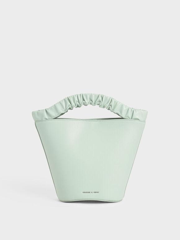 皺褶手提水桶包, 薄荷綠, hi-res