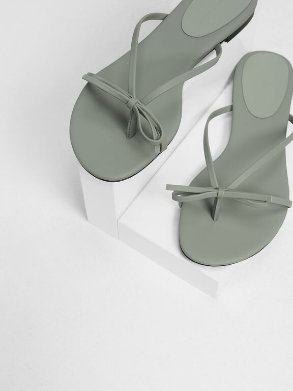 Strappy Bow Thong Sandals, Sage Green