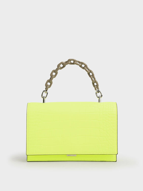 Croc-Effect Two-Tone Chain Top Handle Bag, Neon Yellow, hi-res