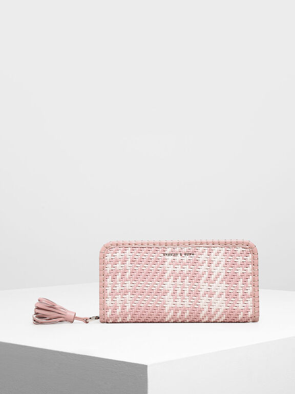 Woven Tassel Zip Around Wallet, Light Pink