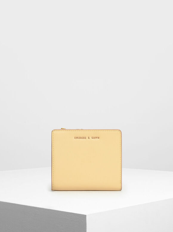 Classic Mini Snap Button Wallet, Yellow, hi-res