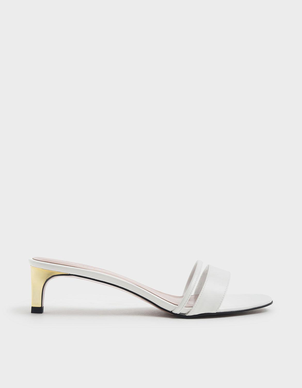 White Clear Strap Kitten Heel Slide