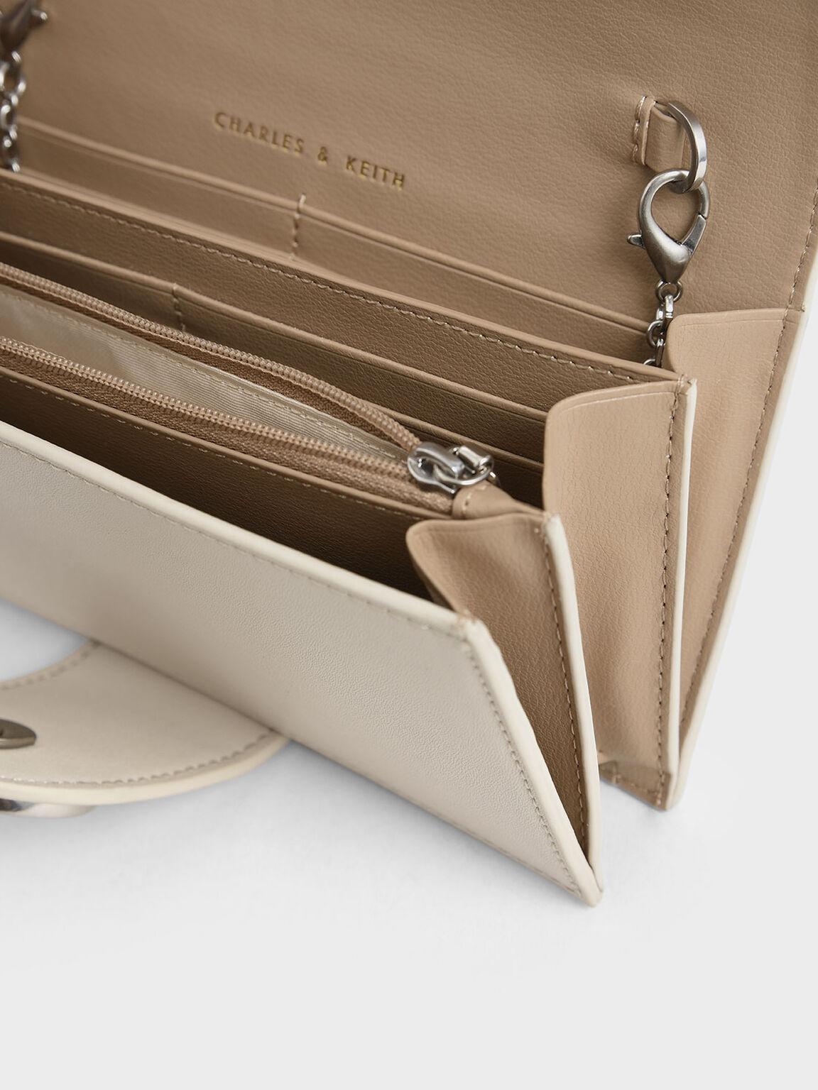 Mini Chrome Button Wallet, Cream, hi-res