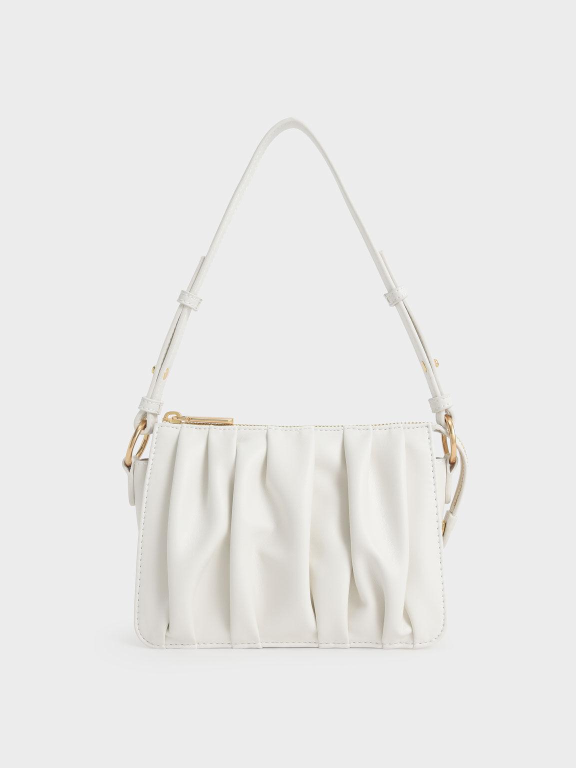 Beaded Strap Ruched Shoulder Bag, White, hi-res
