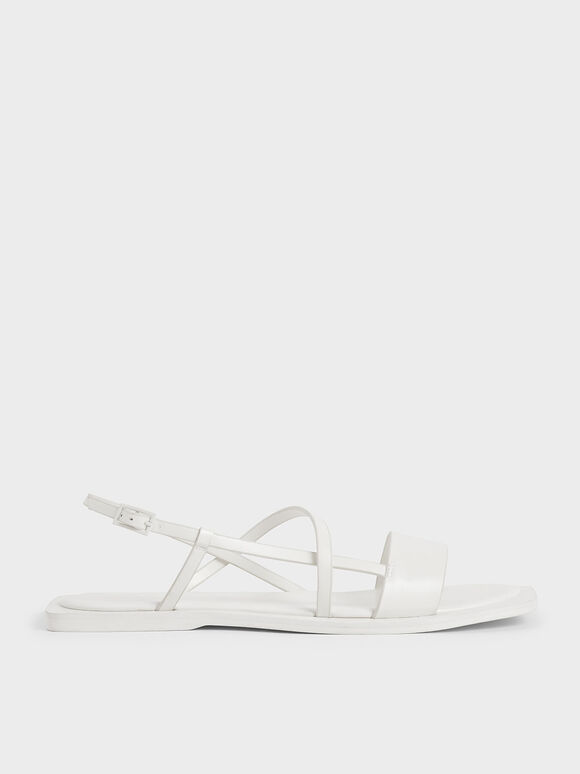 Asymmetric Strap Slingback Sandals, White, hi-res