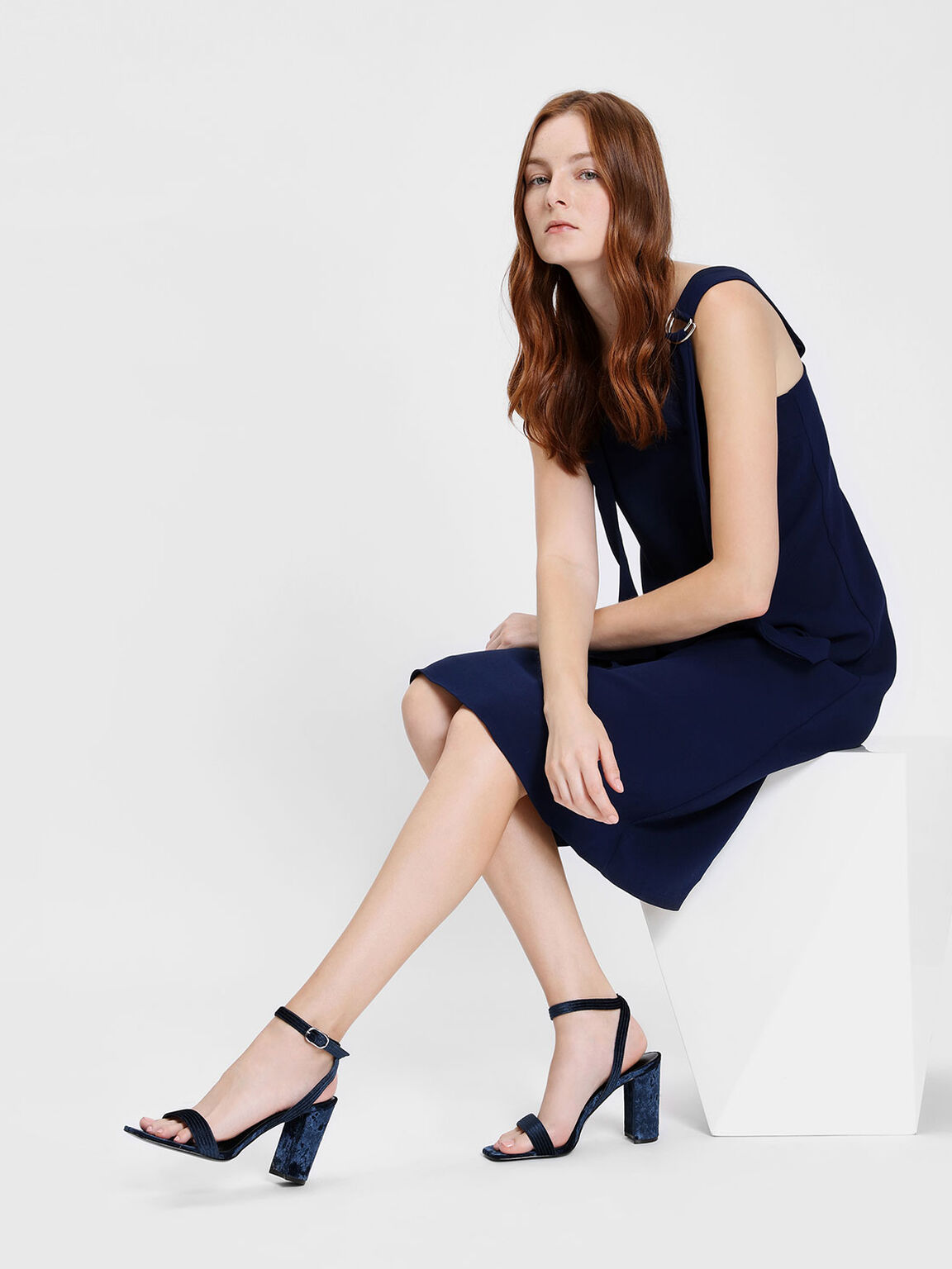 Textured Classic Ankle Strap Heeled Sandals, Dark Blue, hi-res