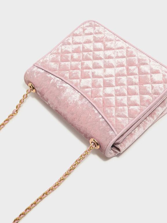Quilted Sling Bag, Pink, hi-res