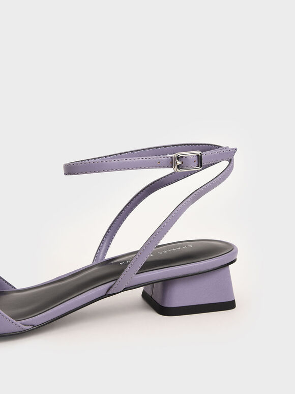 方頭繞踝低跟鞋, 紫丁香色, hi-res