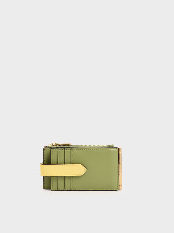 Two-Tone Thin Front Flap Card Holder, Multi, hi-res