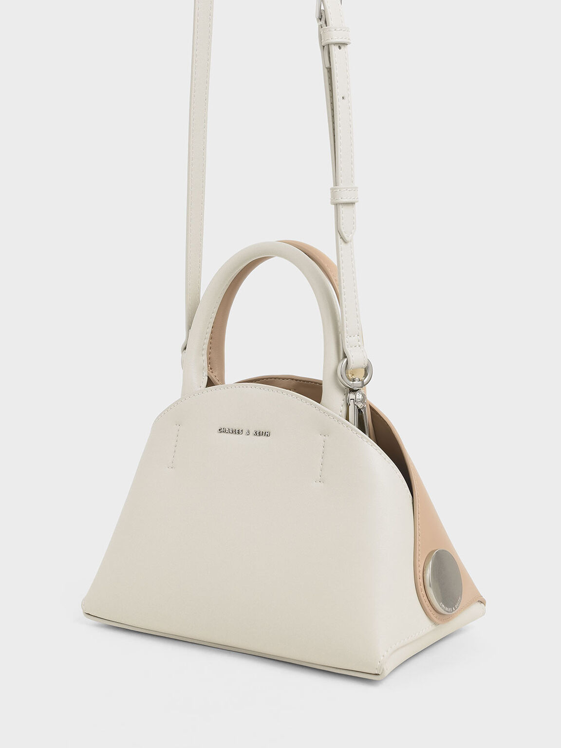 Top Handle Dome Bag, Cream, hi-res