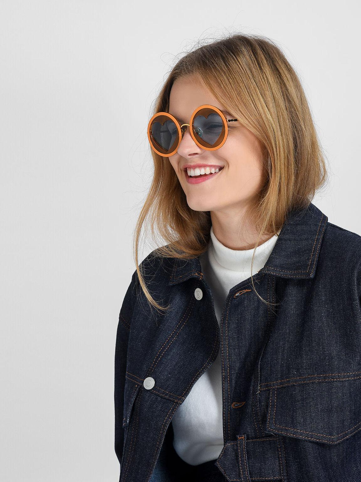 Heart-Shaped Frame Sunglasses, Orange, hi-res