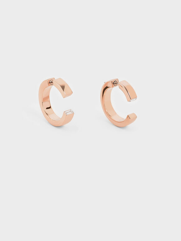 Swarovski® Crystal Hoop Earrings, Rose Gold, hi-res