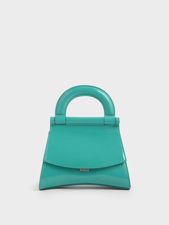 亮面掀蓋手提包, 藍綠色, hi-res
