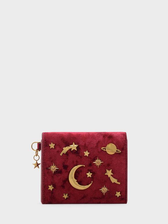 Snap Button Galaxy Embellished Velvet Card Holder, Red, hi-res