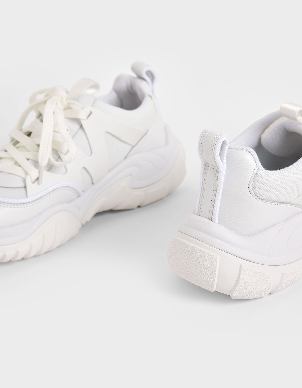 White Mesh \u0026 Netting Chunky Trainers