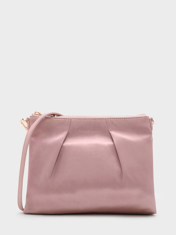 Top Zip Sling Bag, Pink, hi-res
