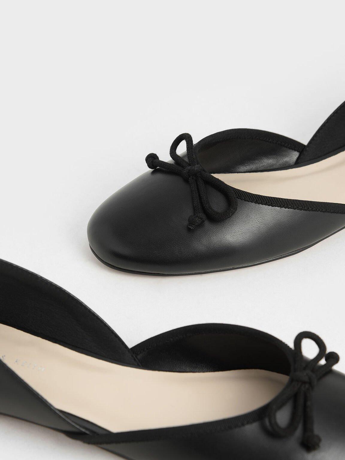 Bow D'Orsay Flats, Black, hi-res