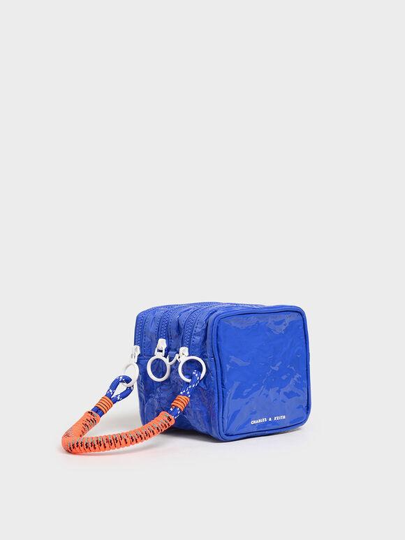 Crumpled Effect Zipper Pouch, Blue, hi-res