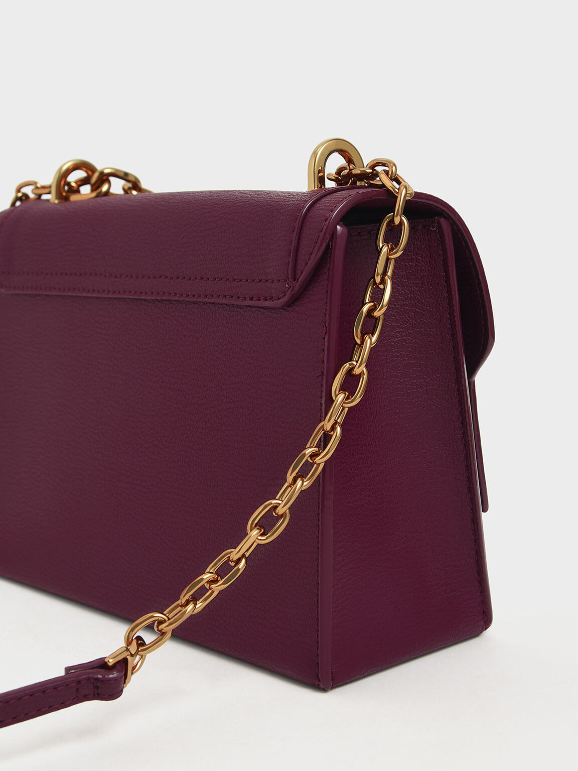 Chain Link Embossed Crossbody Bag, Purple, hi-res