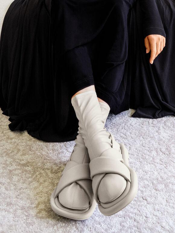 Lucile 平底涼鞋襪靴, 灰色, hi-res