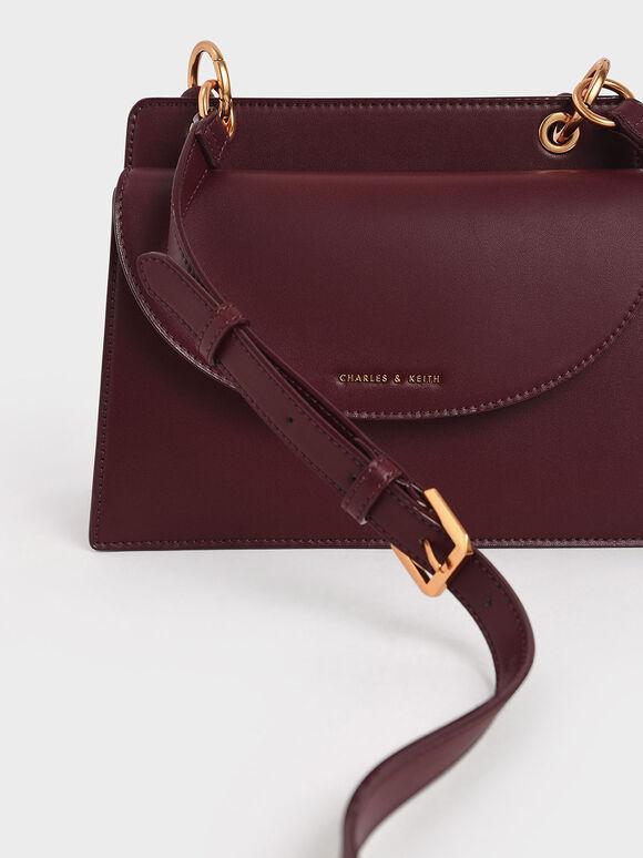 Twist Top Handle Front Flap Bag, Burgundy, hi-res