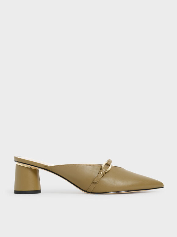 拼接帶穆勒鞋, 橄欖色, hi-res