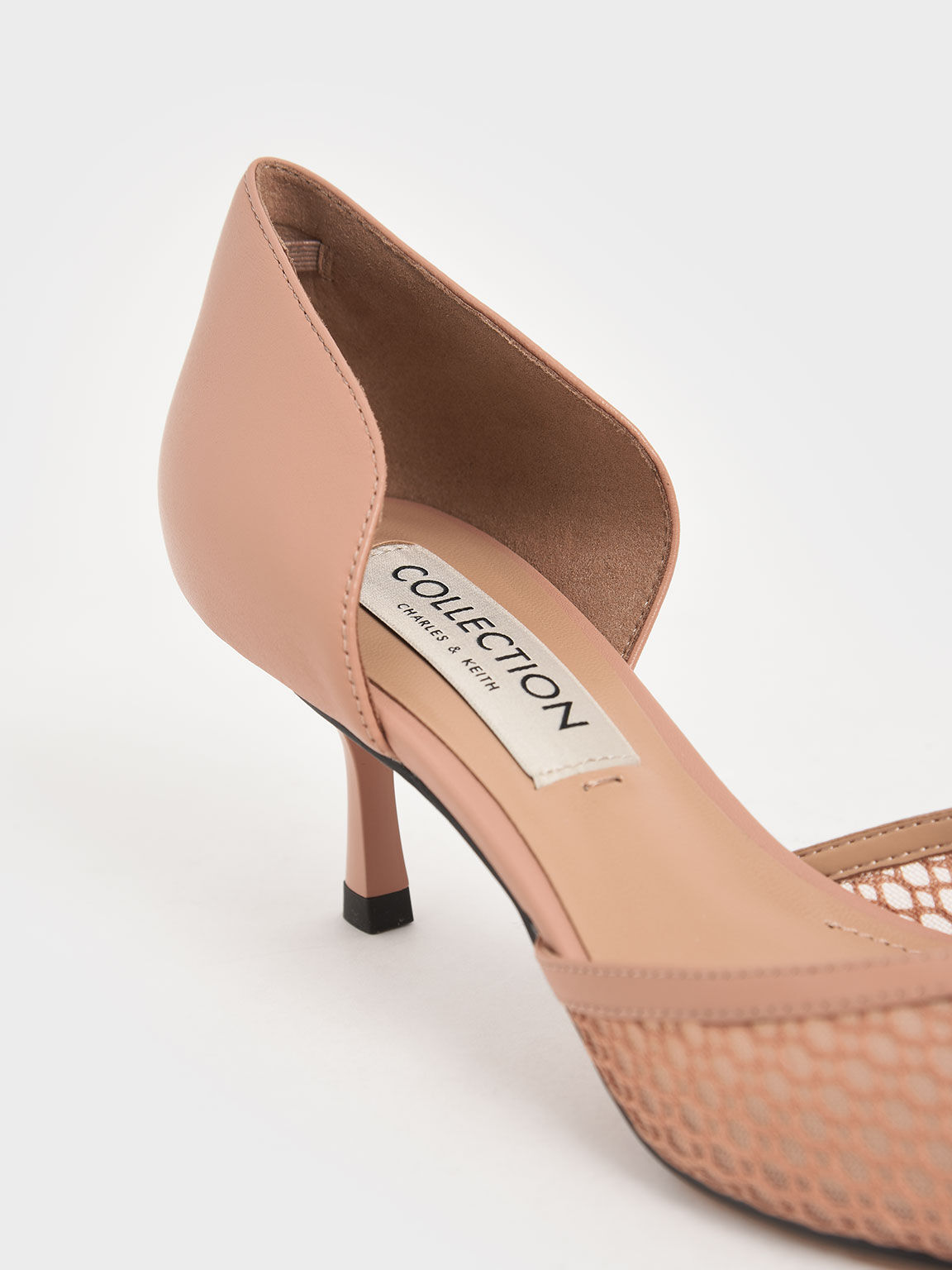 Leather Mesh D'Orsay Pumps, Nude, hi-res