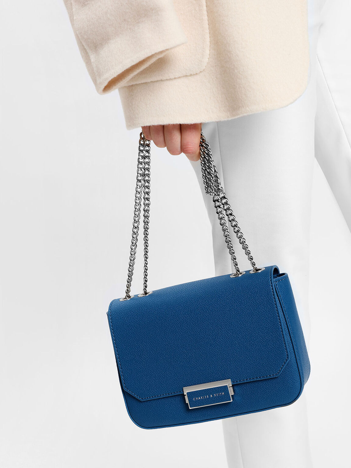 Classic Push-Lock Crossbody Bag, Blue, hi-res