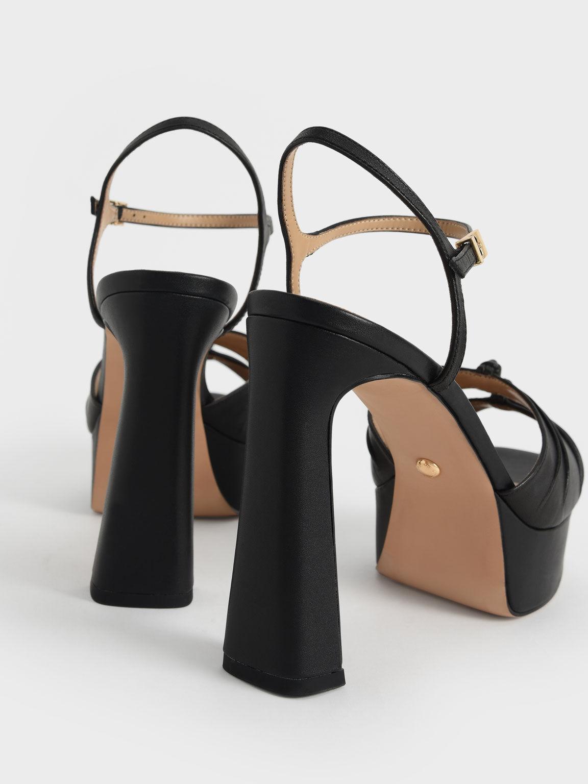 Leather Knot Detail Platform Sandals, Black, hi-res