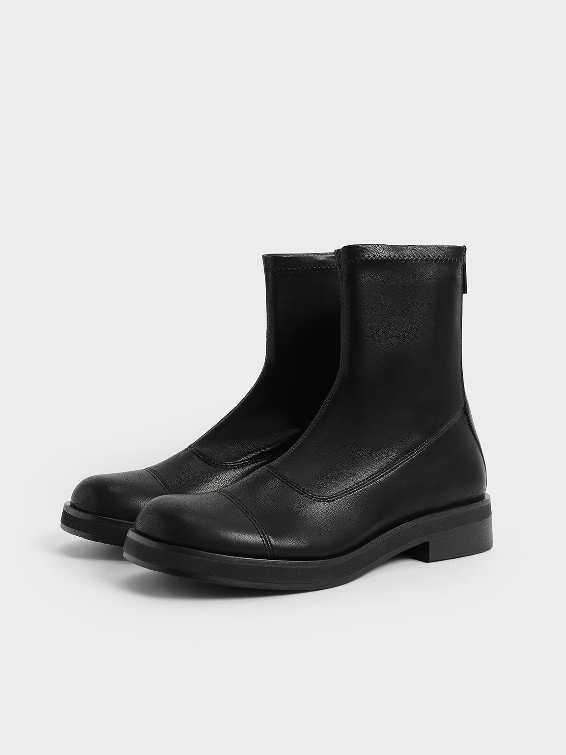 車縫線短靴, 黑色, hi-res