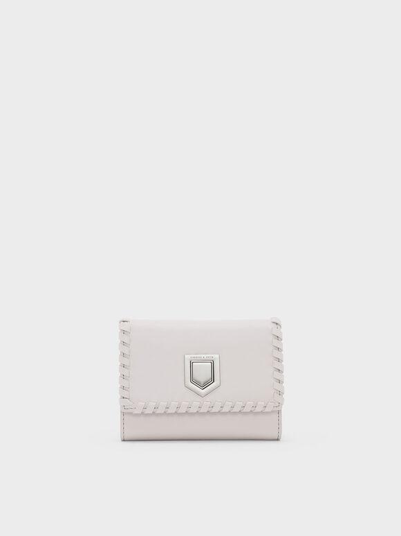 Weave Detail Wallet, Light Pink, hi-res