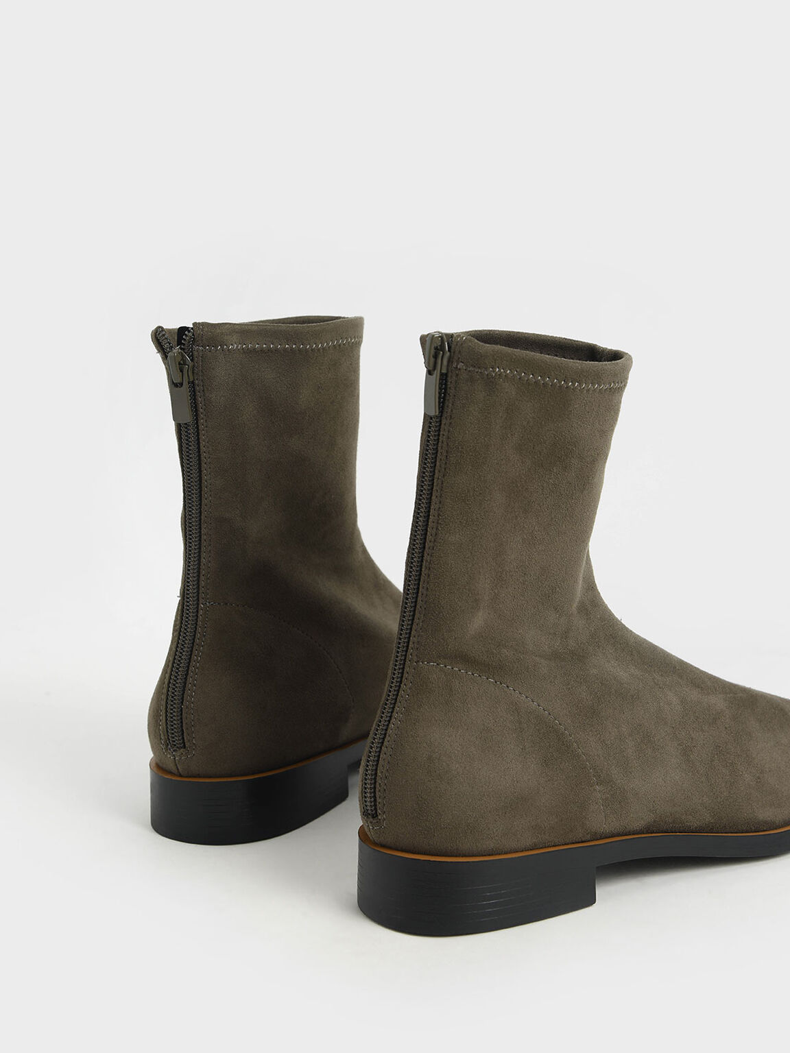 Zip Ankle Boots, Military Green, hi-res