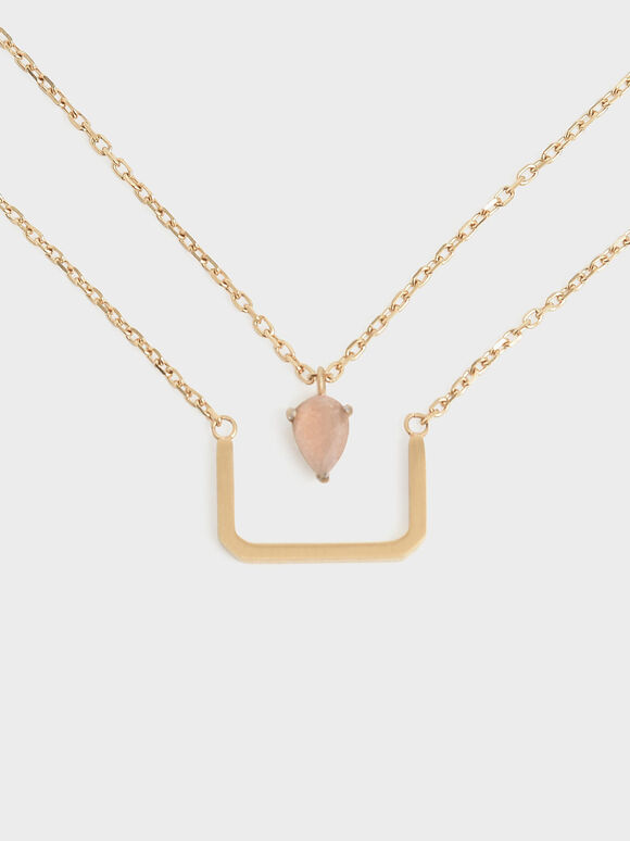Sunstone Layered Matinee Necklace, Bronze, hi-res