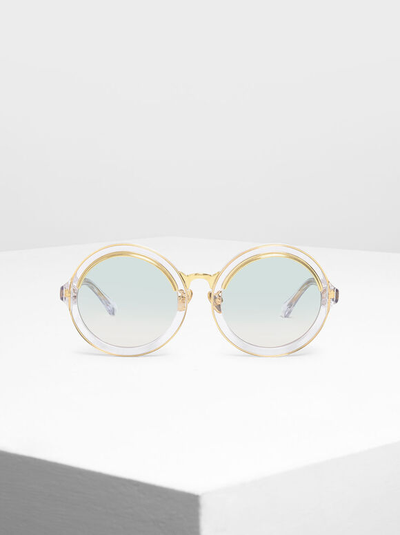 Thick Frame Round Sunglasses, White, hi-res