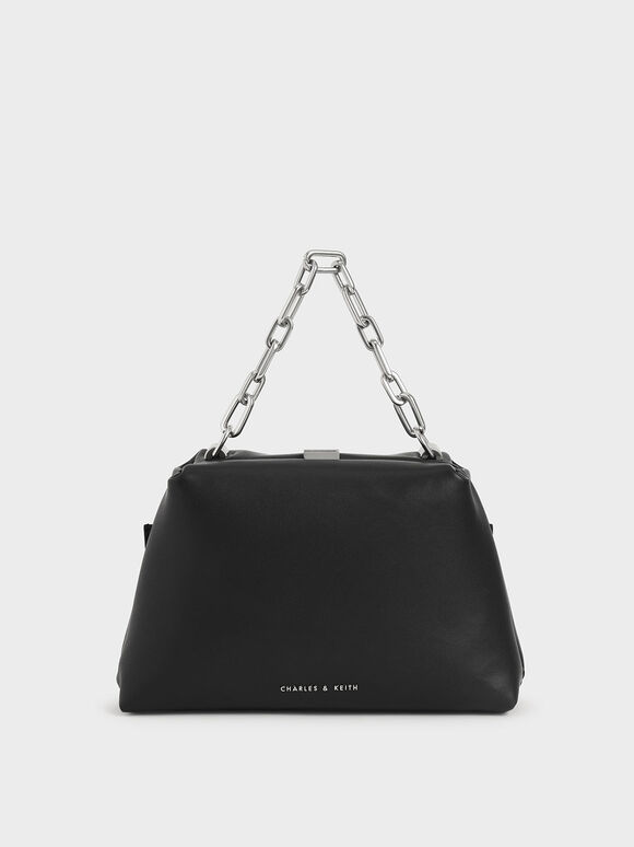 Chain Top Handle Bag, Black, hi-res