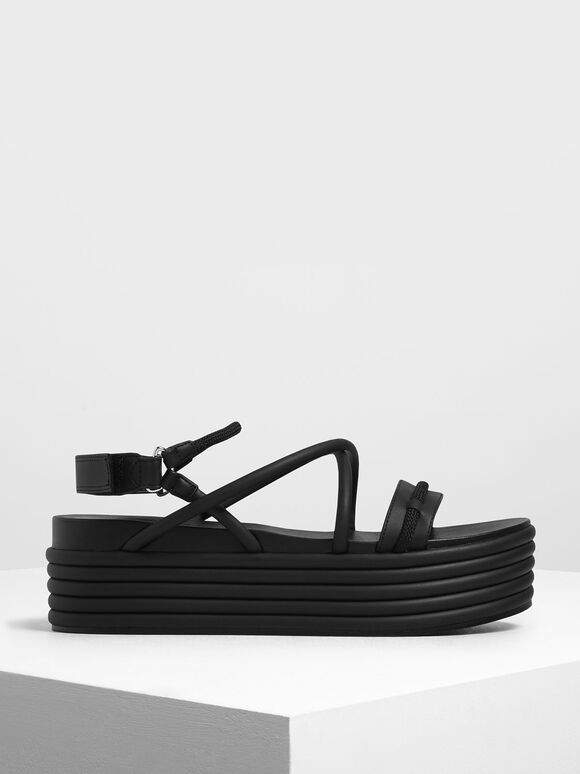 Strappy Flatforms, Black, hi-res