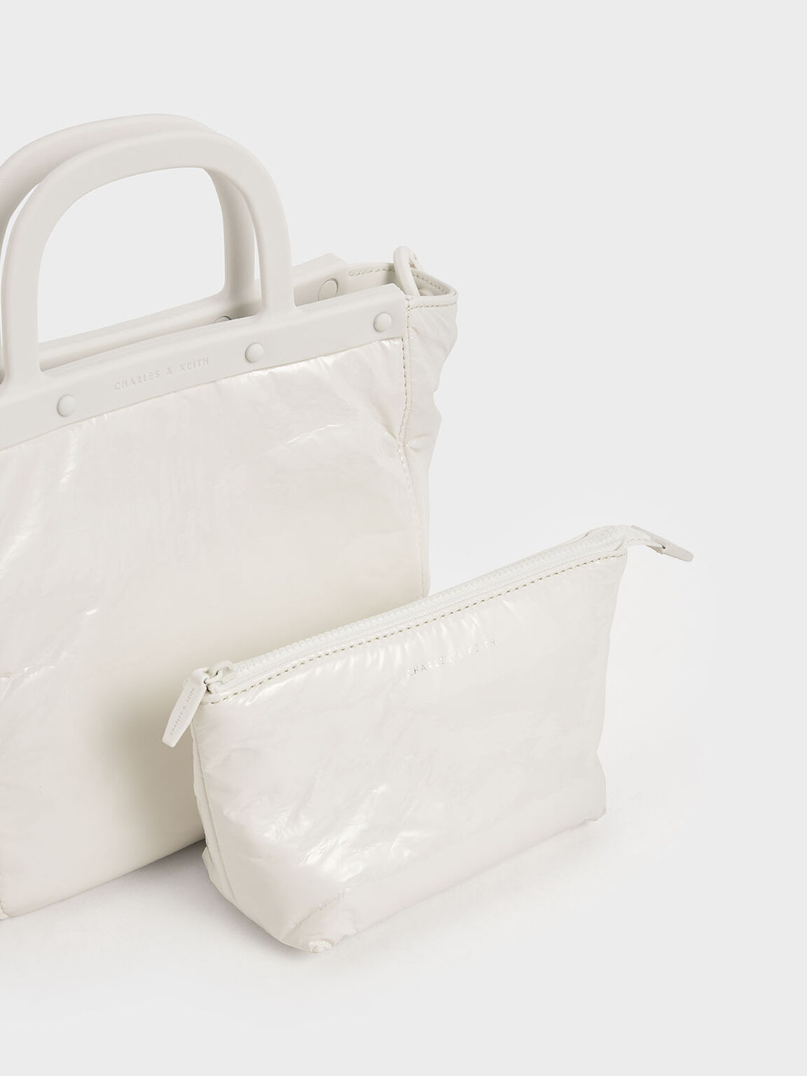 Patent Tote Bag, White, hi-res