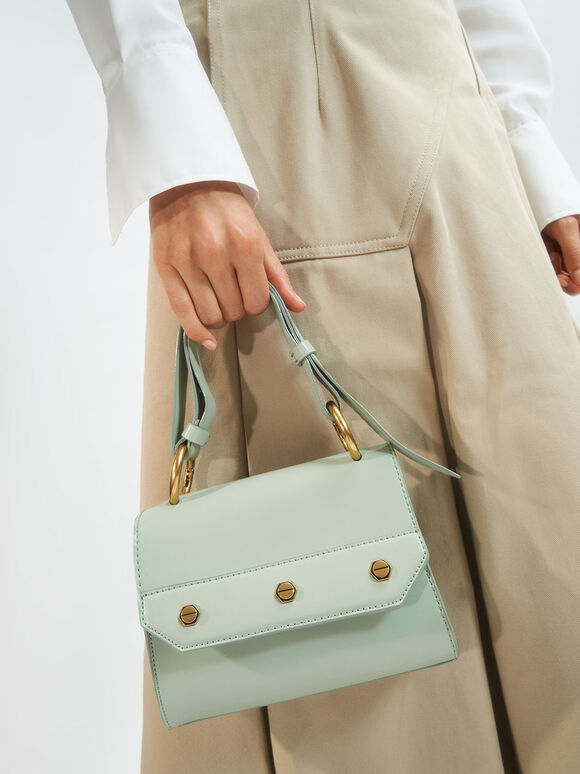 Studded Top Handle Bag, Mint Green, hi-res
