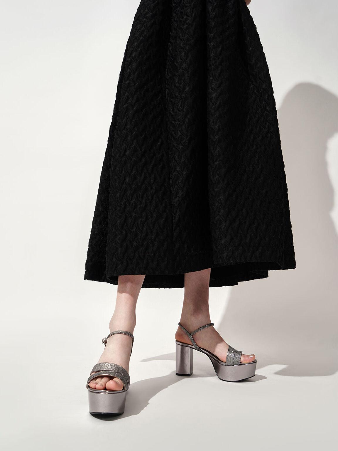 Glitter Strappy Platform Sandals, Pewter, hi-res