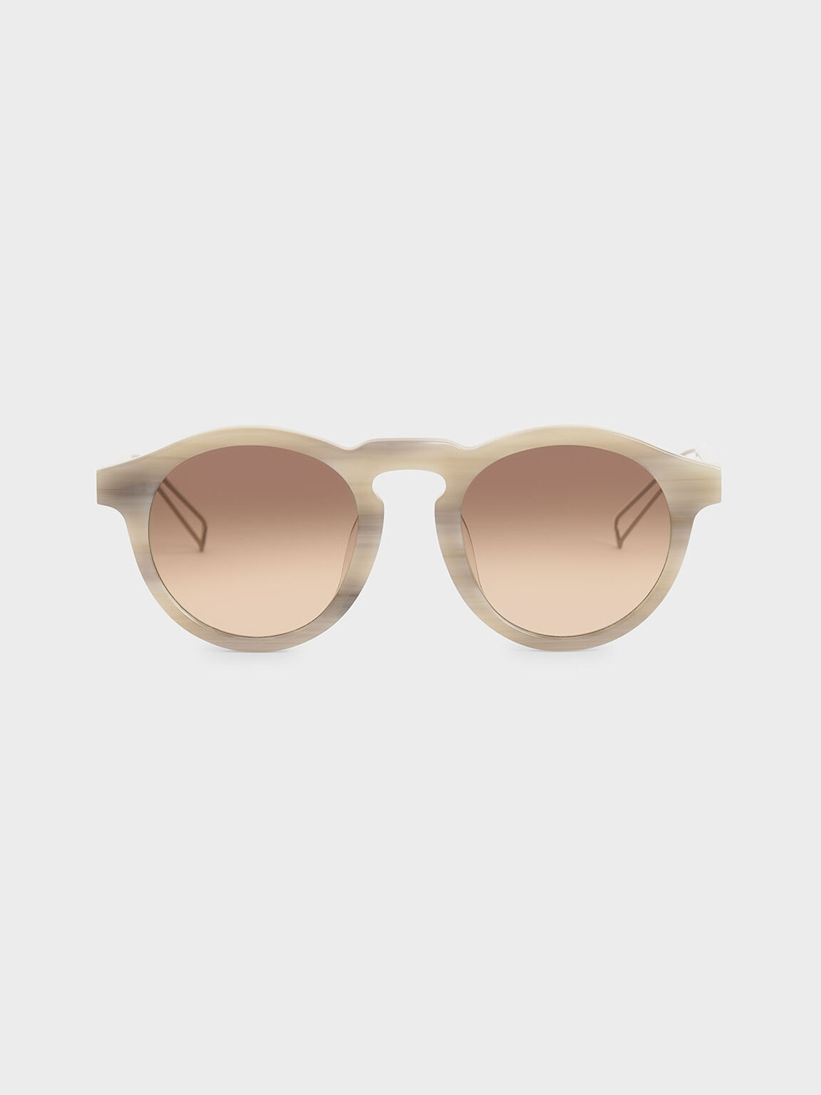 Round Acetate Sunglasses, Cream, hi-res