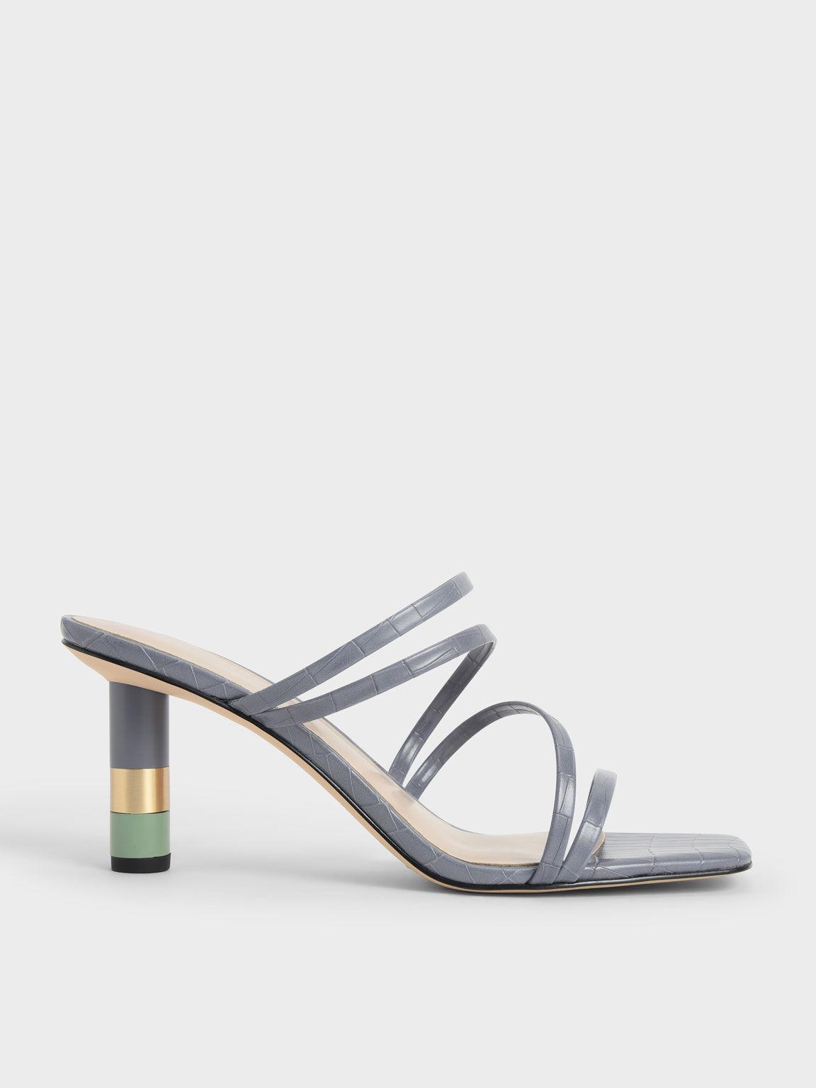 Croc-Effect Cylindrical Heel Mules, Animal Print Blue, hi-res