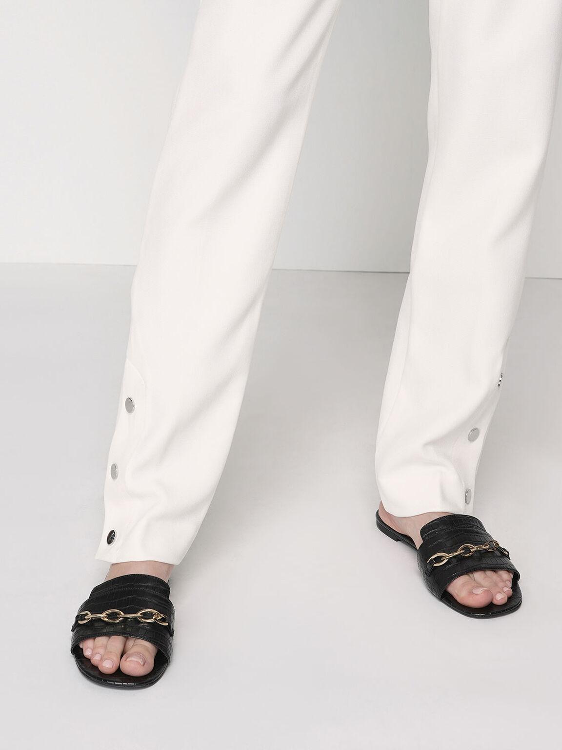 Croc-Effect Chain Link Slide Sandals, Black, hi-res
