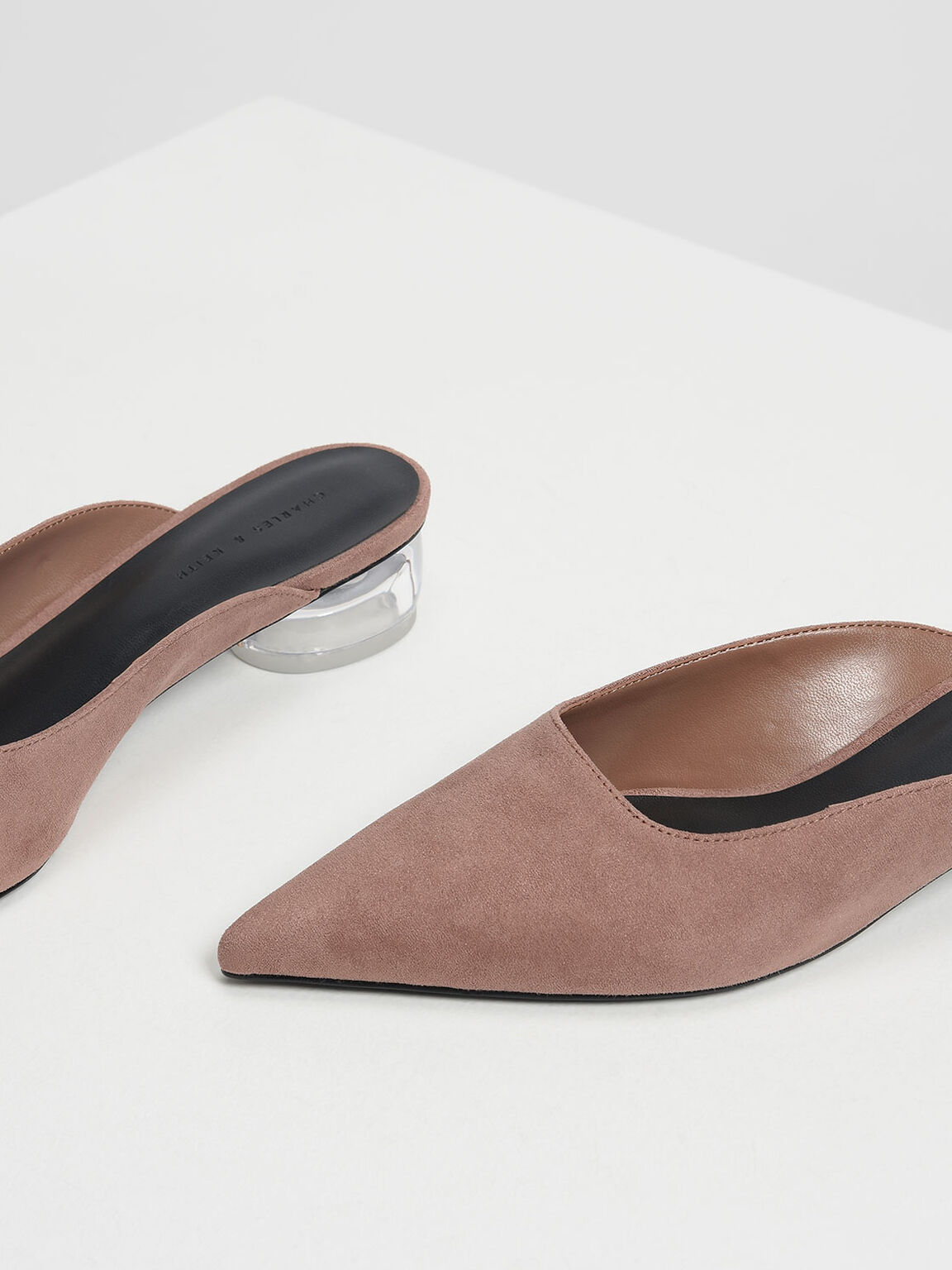 Lucite Heel Pointed Mules, Taupe, hi-res