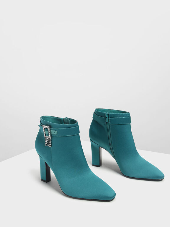 Crystal Embellished Buckle Boots, Green