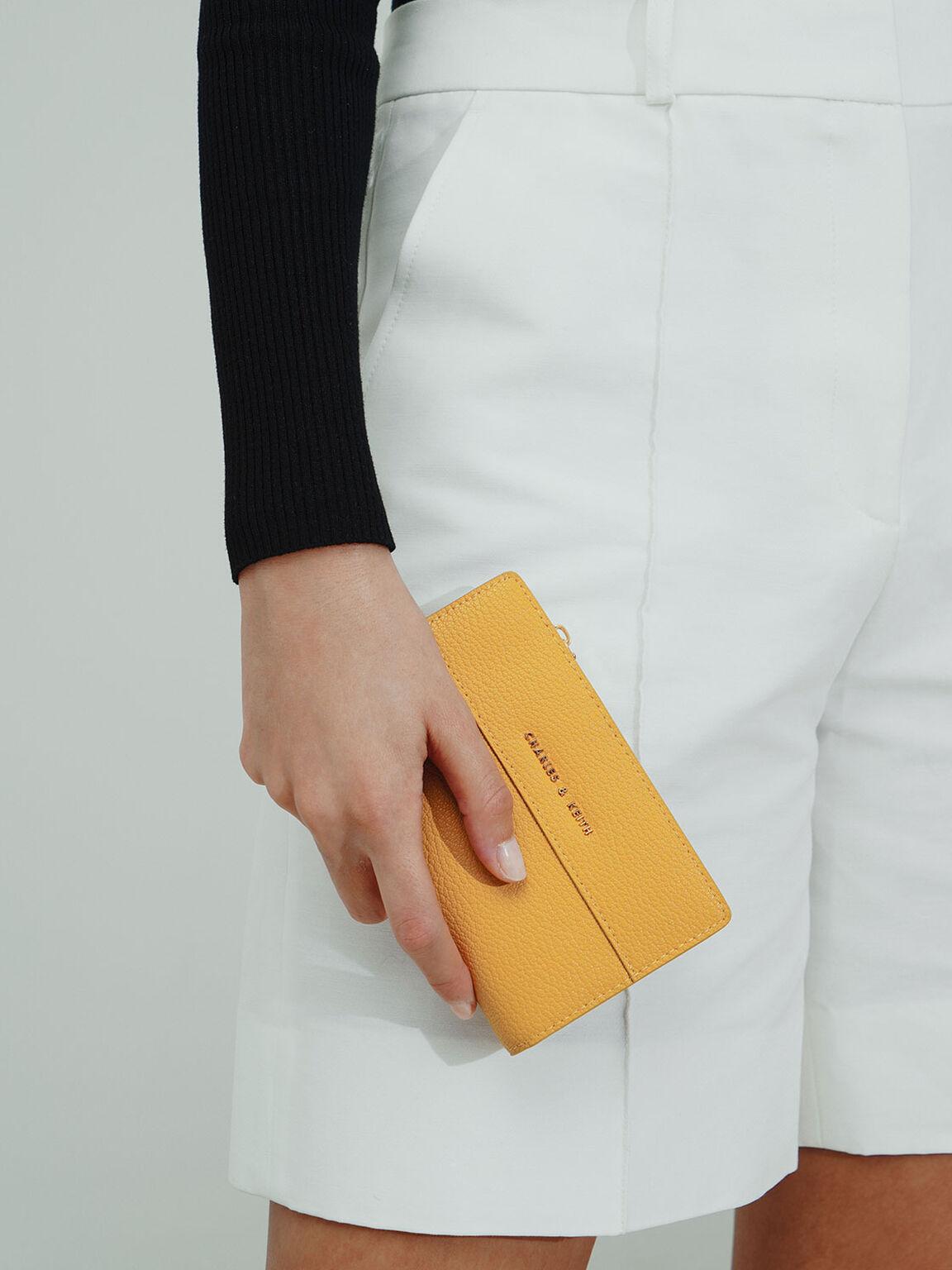 Snap-Button Mini Wallet, Yellow, hi-res