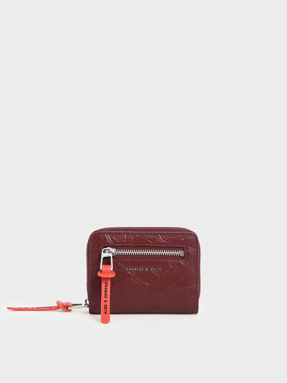 Mini Wrinkled Effect Short Wallet, Burgundy, hi-res