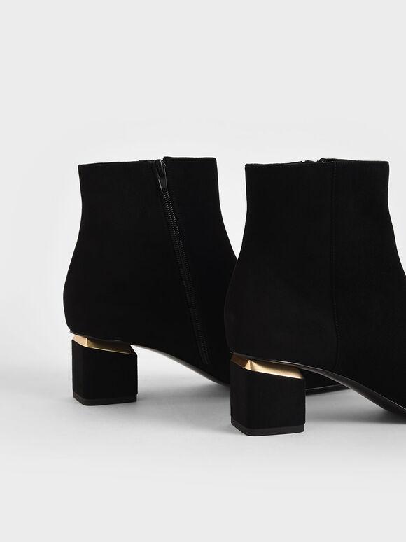 素面粗跟踝靴, 黑色特別款, hi-res