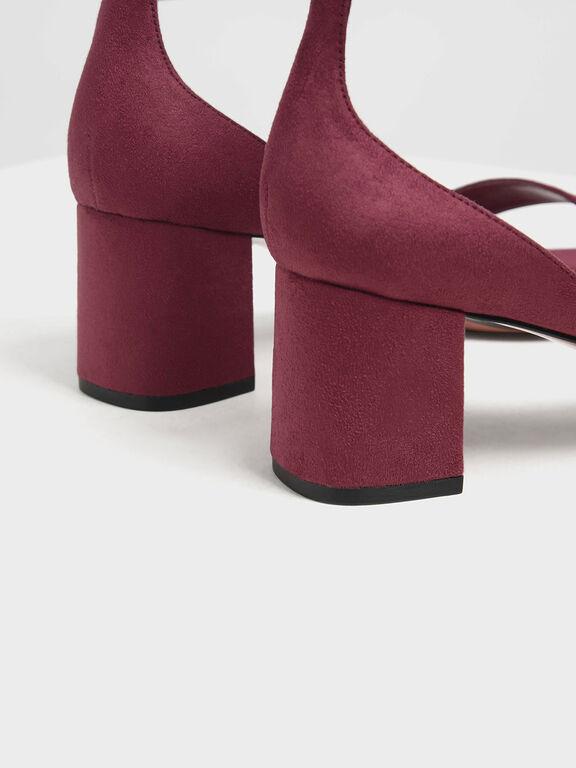 Open Toe Low Block Heel Textured Sandals, Pink, hi-res