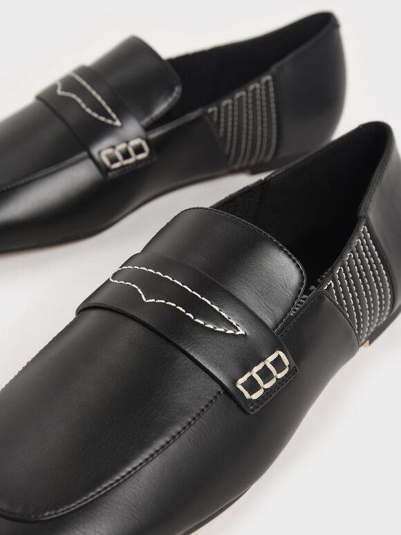 車縫線樂福鞋, 黑色, hi-res